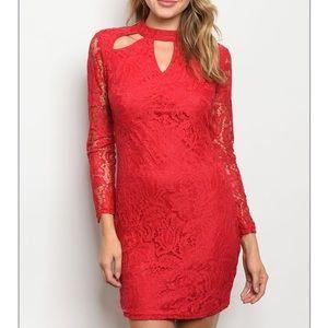 Red long sleeve lace mini dress w/ cutout detail